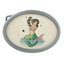 Beautiful Old School Mermaid Oval Belt Buckle