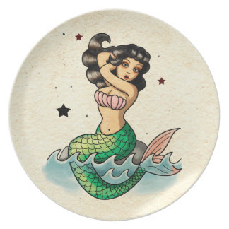 Beautiful Old School Mermaid Party Plates