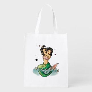 Beautiful Old School Mermaid Reusable Grocery Bags