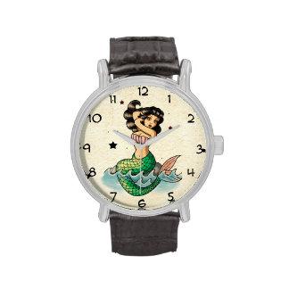 Beautiful Old School Mermaid Wrist Watch