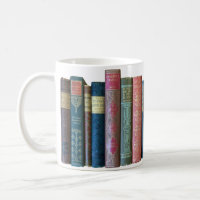 Beautiful old vintage books, book spines coffee mug
