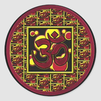 Beautiful Om Aum Symbol w/Circles and Squares Classic Round Sticker