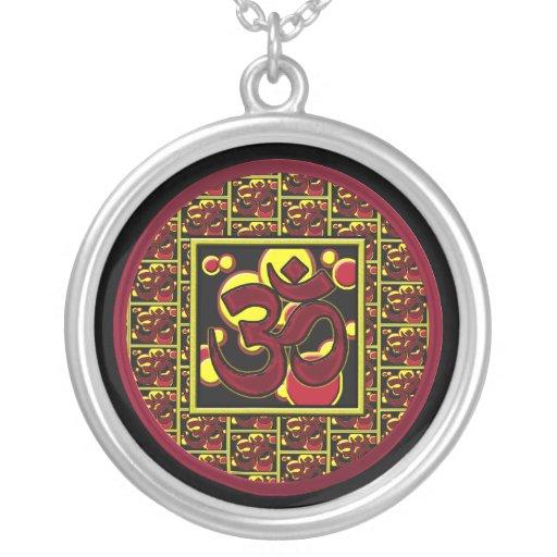 Beautiful Om Aum Symbol w/Circles and Squares Round Pendant Necklace