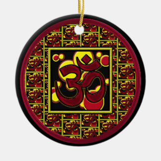 Beautiful Om Aum Symbol w Circles and Squares Christmas Tree Ornament