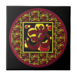 Beautiful Om Aum Symbol w/Circles and Squares Small Square Tile