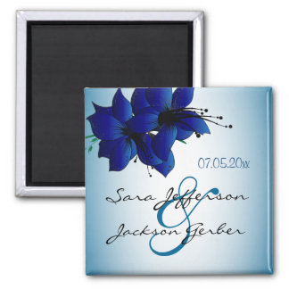 Beautiful Ombre Blue Floral Wedding Magnet