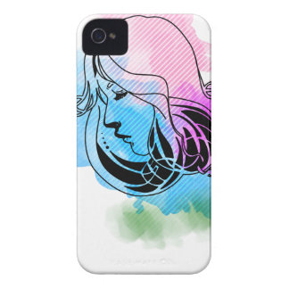 Beautiful on woman watercolor phase background Case-Mate iPhone 4 case