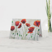 Beautiful Opulent Floral Poppy Thank You Card