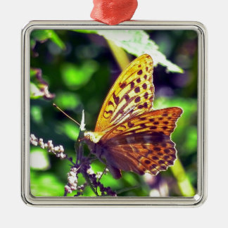 Beautiful Orange and Black Spotted Butterfly Metal Ornament