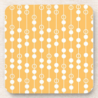 Beautiful Orange and White Hanging Beads Pattern Coaster