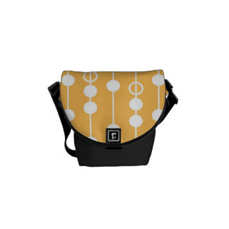 Beautiful Orange and White Hanging Beads Pattern Courier Bags
