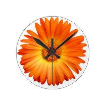 Beautiful Orange and Yellow Gerbera Daisy Round Clock