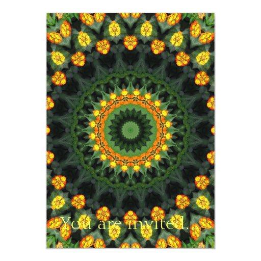 Beautiful Orange and Yellow Lantana Kaleidoscope 1 Card
