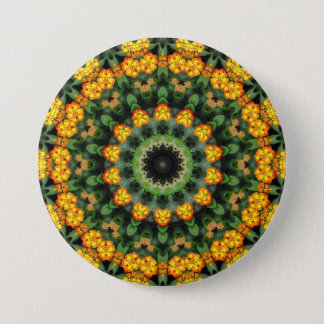 Beautiful Orange and Yellow Lantana Kaleidoscope 2 Button