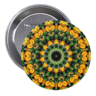 Beautiful Orange and Yellow Lantana Kaleidoscope 2 Pinback Buttons