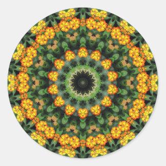 Beautiful Orange and Yellow Lantana Kaleidoscope 2 Classic Round Sticker