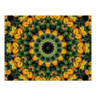 Beautiful Orange and Yellow Lantana Kaleidoscope 2 Poster