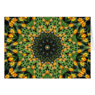 Beautiful Orange and Yellow Lantana Kaleidoscope 3 Card