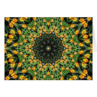 Beautiful Orange and Yellow Lantana Kaleidoscope 3 Card
