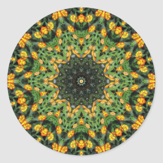 Beautiful Orange and Yellow Lantana Kaleidoscope 3 Classic Round Sticker