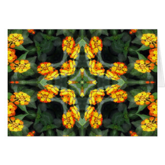 Beautiful Orange and Yellow Lantana Kaleidoscope 4 Card