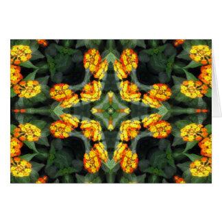 Beautiful Orange and Yellow Lantana Kaleidoscope 4 Greeting Card