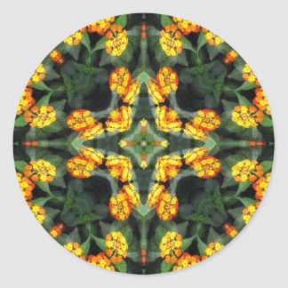 Beautiful Orange and Yellow Lantana Kaleidoscope 4 Classic Round Sticker