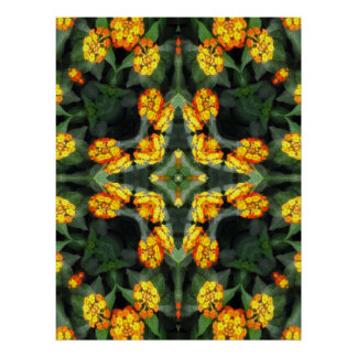 Beautiful Orange and Yellow Lantana Kaleidoscope 4 Poster