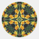 Beautiful Orange and Yellow Lantana Kaleidoscope 4 Round Sticker