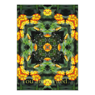 Beautiful Orange and Yellow Lantana Kaleidoscope 5 Card