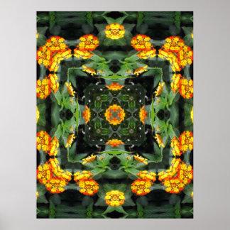 Beautiful Orange and Yellow Lantana Kaleidoscope 5 Poster