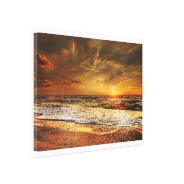Beach Themed Beautiful Orange Beach Ocean Sunset Canvas Print