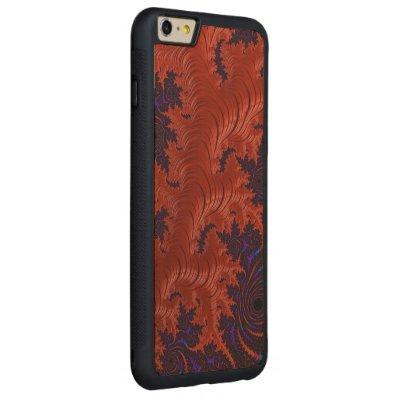 Beautiful Orange Blue Fractal Design Carved® Maple iPhone 6 Plus Bumper Case