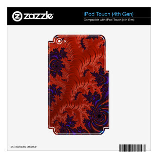 Beautiful Orange Blue Fractal Design Decal For iPod Touch 4G
