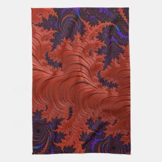 Beautiful Orange Blue Fractal Design Hand Towels