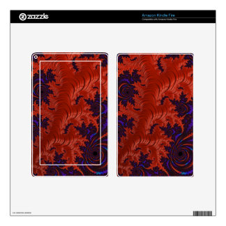 Beautiful Orange Blue Fractal Design Kindle Fire Skin