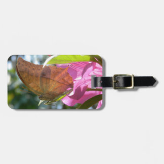 Beautiful Orange Butterfly on a Pink Flower Tag For Bags