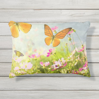 Beautiful Orange Butterfly Pink Spring Flowers Outdoor Pillow