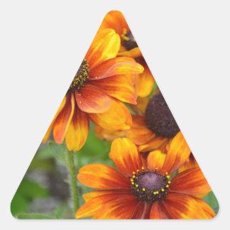Beautiful orange coneflowers triangle sticker