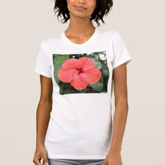 Beautiful Orange Hibiscus Flower Ladies T Shirt