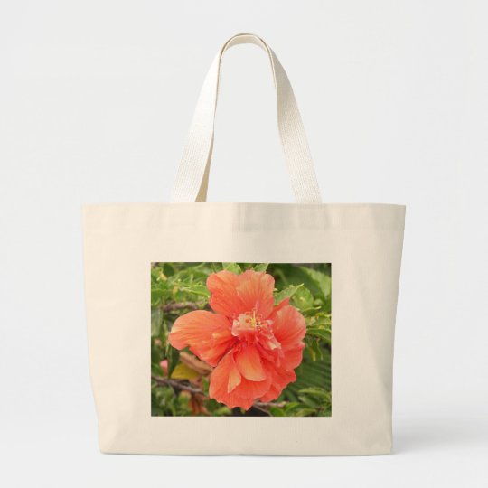 Beautiful Orange Hibiscus Flower Large Tote Bag