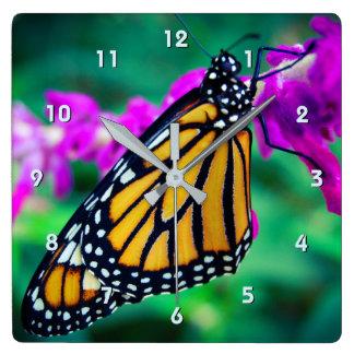Beautiful orange monarch butterfly close-up photo square wall clock