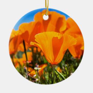 Beautiful Orange Poppy Flowers in a Field Ceramic Ornament