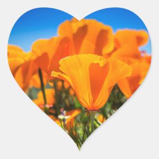 Beautiful Orange Poppy Flowers in a Field Heart Sticker
