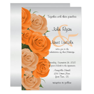 Beautiful Orange Rose Flower Wedding Invitations