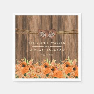 Beautiful Orange Roses and Daisy Flowers on Wood Napkin