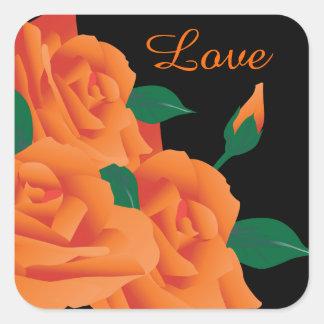 Beautiful Orange Roses Square Sticker