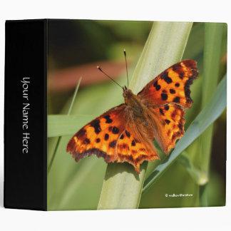 Beautiful Orange Satyr Comma Butterfly 3 Ring Binder
