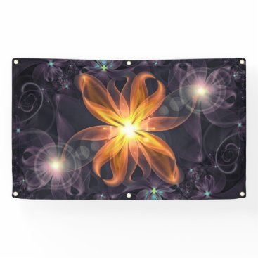 Halloween Themed Beautiful Orange Star Lily Fractal Flower at Night Banner