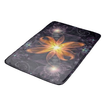 Halloween Themed Beautiful Orange Star Lily Fractal Flower at Night Bathroom Mat